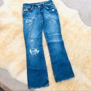 LUCKY BRAND distressed ripped denim blue jeans